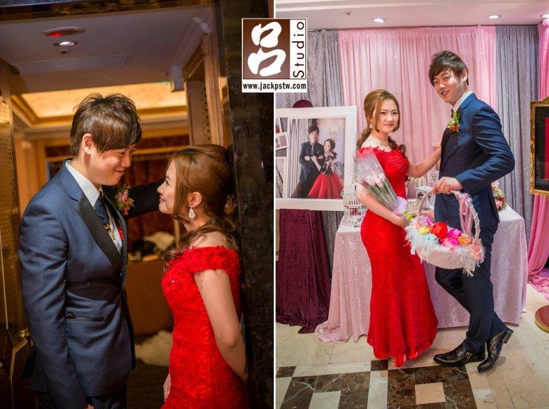 二次進場新娘換上大紅色的禮服,趁空檔拍一些他們自己的照片