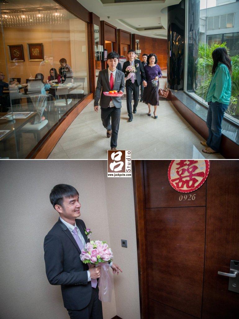 迎娶的眾人到達蓮潭會館,要進房