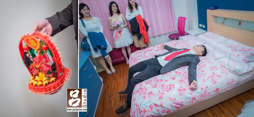 帶路雞,新娘家人剛好有人是屬龍,才可以躺床