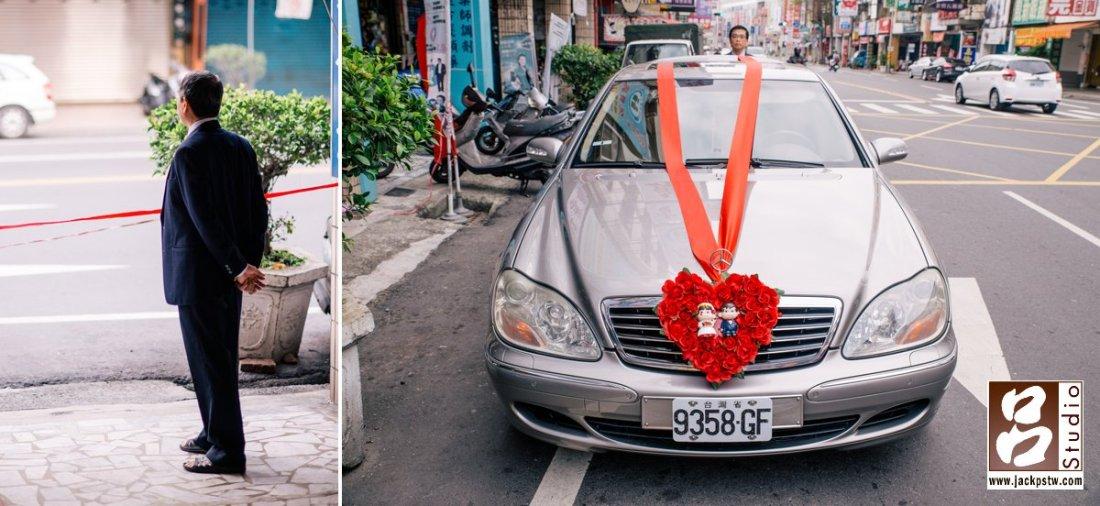 新郎的父親往外看,和今天娶新娘的禮車