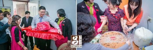 男方家族送來的禮品,女方準備甜米糕要讓新郎帶到新家分給家人吃