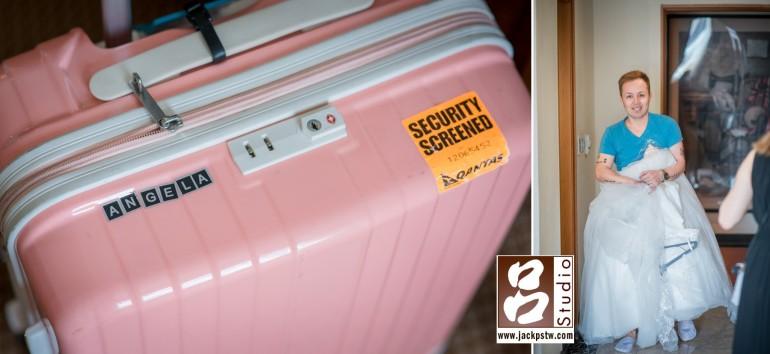 新娘行李箱上面貼的自己的名字,新郎忙進忙出