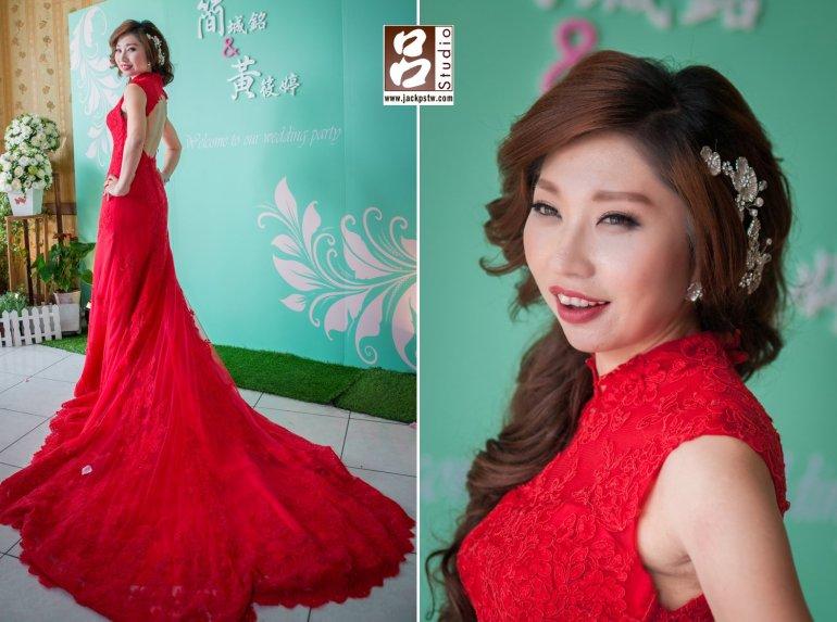 新娘最後一套穿上全紅的裙擺禮服
