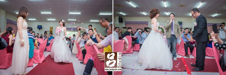 新娘進場, 主持人要求新郎要對新娘表示下