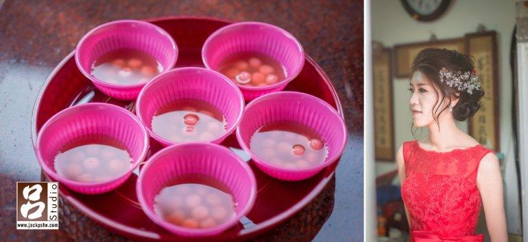 準備給賓客吃的甜湯,新娘獨照