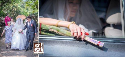 媒婆牽的新人下山,新娘丟扇儀式