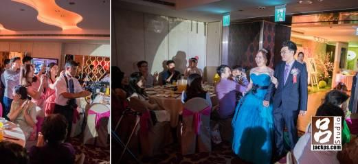二次進場新娘換上水藍色的禮服