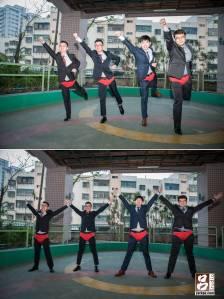 穿的紅內褲擺出pose