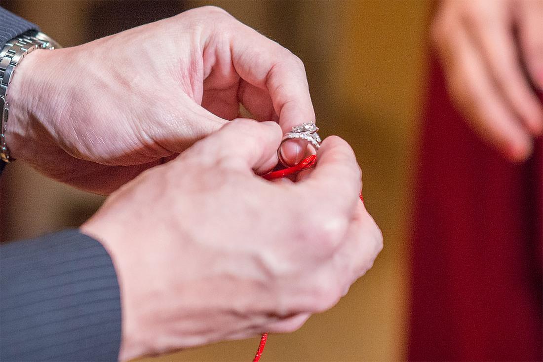 一金戒加一銅戒用紅繩繫活結