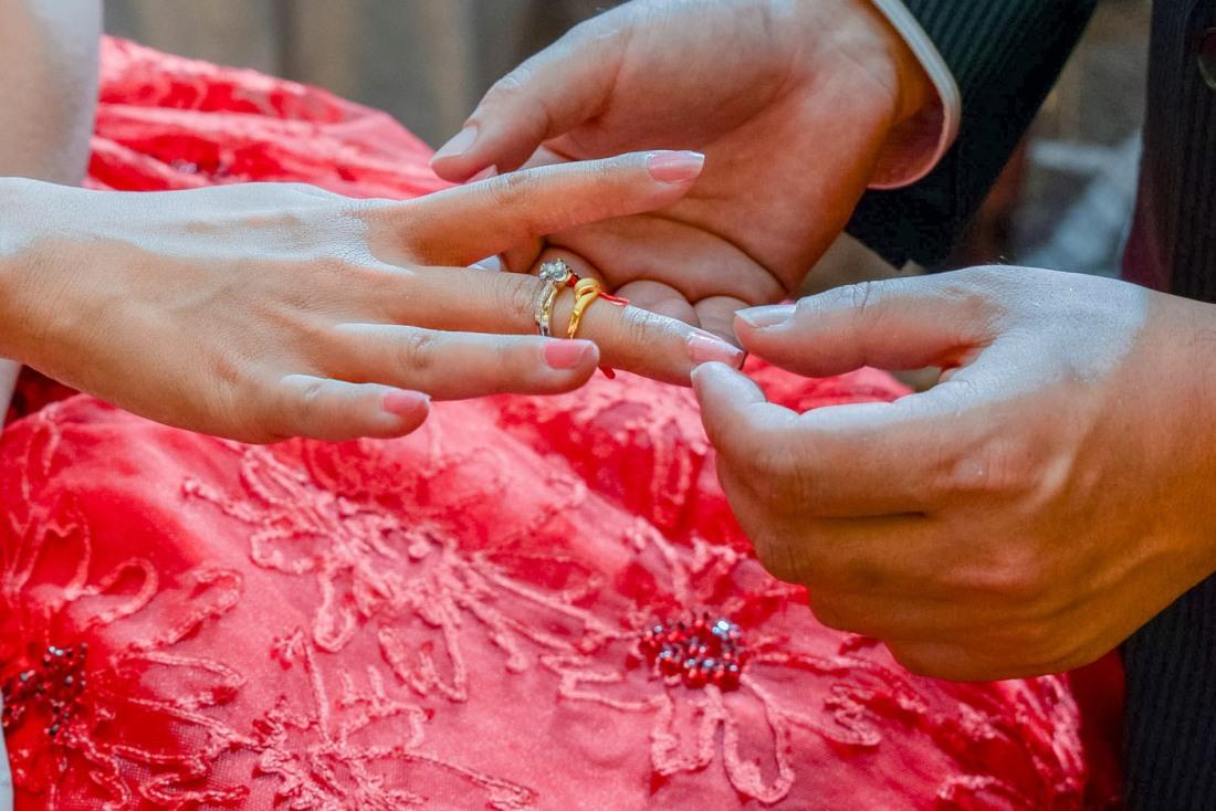 女生將會帶上有兩個戒指在右手中指
