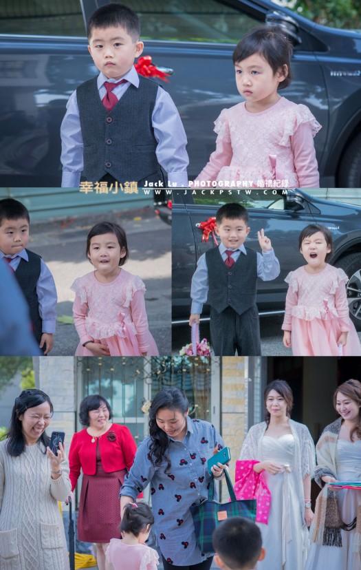 婚禮儀式前,小花童拍合照,做出奇怪表情