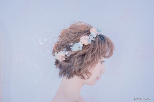 新娘短髮花圈造型