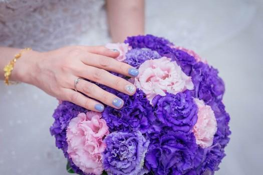 新娘水藍色美甲