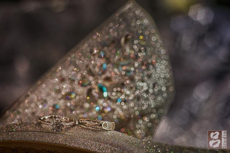 婚戒和婚鞋 微距拍攝