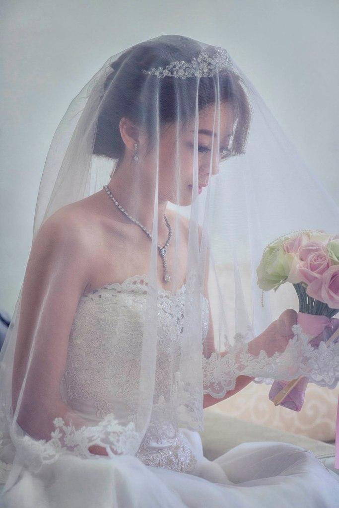 新娘白紗蓋頭紗